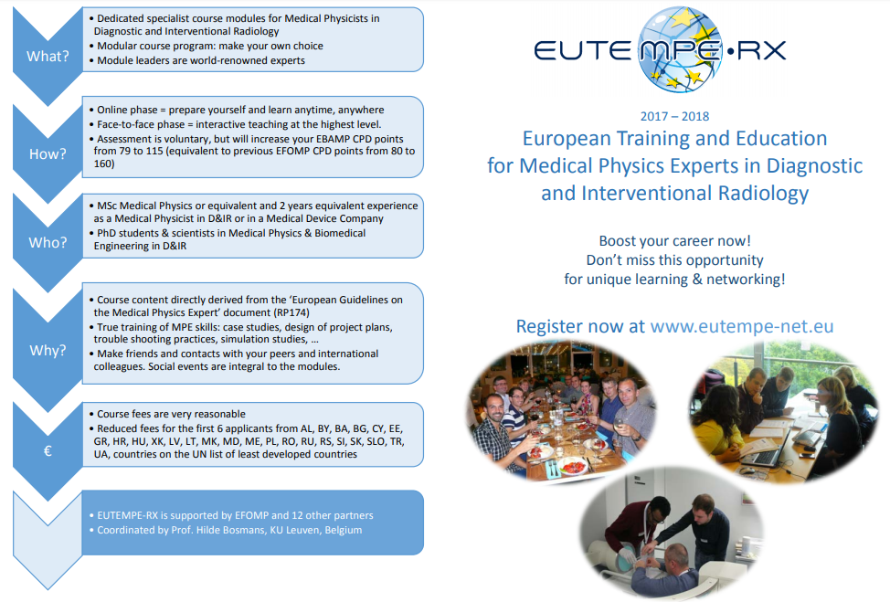 European Training and Education for Medical Physics Experts in Radiology